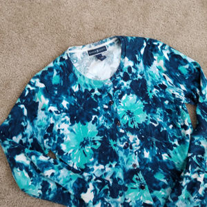 Karen Scott blue/teal/white floral button cardigan